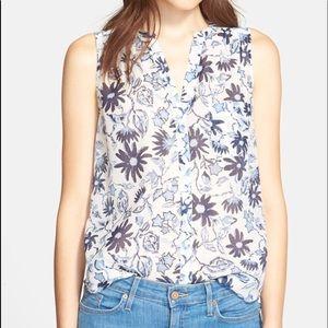 Joie 'Jocelyn' Floral Print Cotton & Silk Top